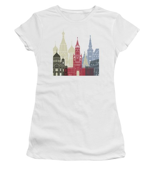 Moscow Skyline Poster Women's T-Shirt (Junior Cut) by Pablo Romero