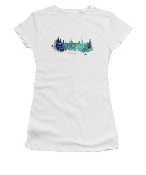 Moscow Skyline Wind Rose Women's T-Shirt (Junior Cut) by Justyna JBJart