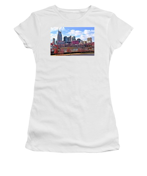 Nashville On The Riverfront Women's T-Shirt (Junior Cut) by Frozen in Time Fine Art Photography