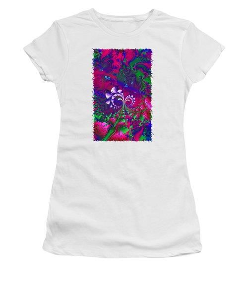 Nerd Berries Psychedelic Fractal Women's T-Shirt (Junior Cut) by Sharon and Renee Lozen
