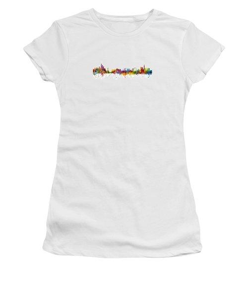 New York And London Skyline Mashup Women's T-Shirt (Junior Cut) by Michael Tompsett