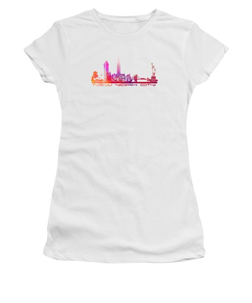 New York City Skyline Purple Women's T-Shirt (Junior Cut) by Justyna JBJart