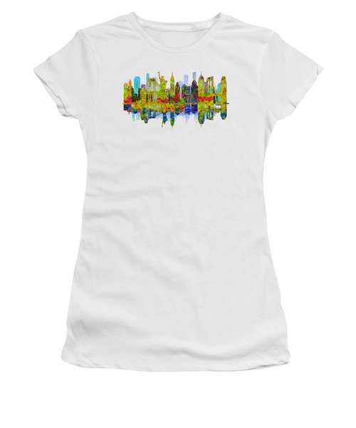 New York Skyline Women's T-Shirt (Junior Cut) by John Groves