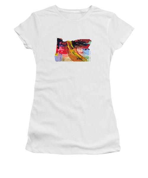 Oregon Map Art - Painted Map Of Oregon Women's T-Shirt (Junior Cut) by World Art Prints And Designs