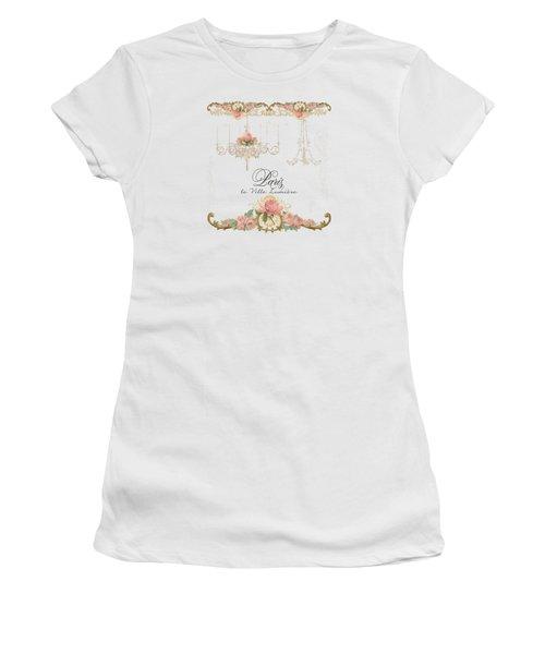 Parchment Paris - City Of Light Rose Chandelier W Plaster Walls Women's T-Shirt (Junior Cut) by Audrey Jeanne Roberts