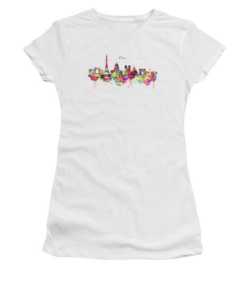Paris Skyline 2 Women's T-Shirt (Junior Cut) by Marian Voicu