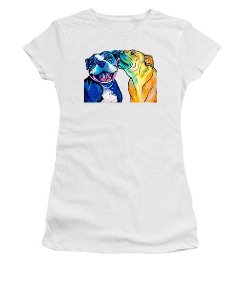 Pitbull Kisses Women's T-Shirt (Junior Cut) by Abbi Kay