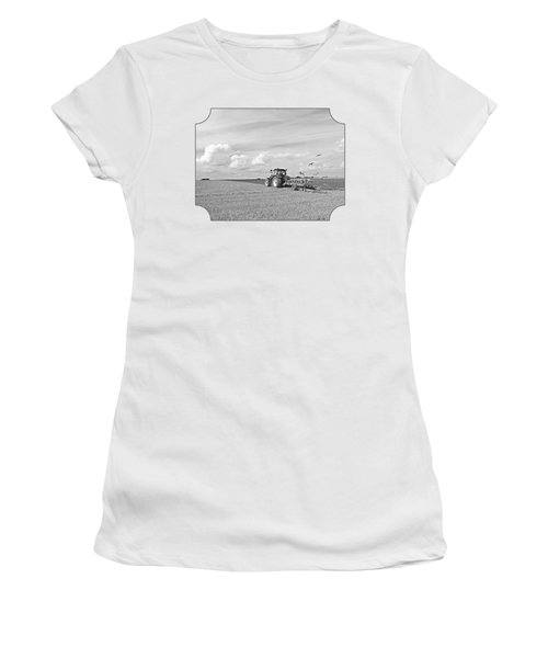 Ploughing After The Harvest In Black And White Women's T-Shirt (Junior Cut) by Gill Billington