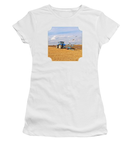 Ploughing After The Harvest - Square Women's T-Shirt (Junior Cut) by Gill Billington