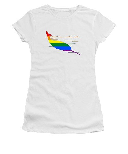Rainbow Narwhal Women's T-Shirt (Junior Cut) by Mordax Furittus