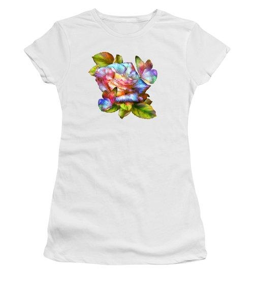 Rainbow Rose And Butterflies Women's T-Shirt (Junior Cut) by Carol Cavalaris