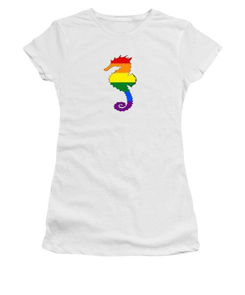 Rainbow Seahorse Women's T-Shirt (Junior Cut) by Mordax Furittus