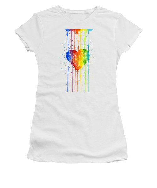 Rainbow Watercolor Heart Women's T-Shirt (Junior Cut) by Olga Shvartsur