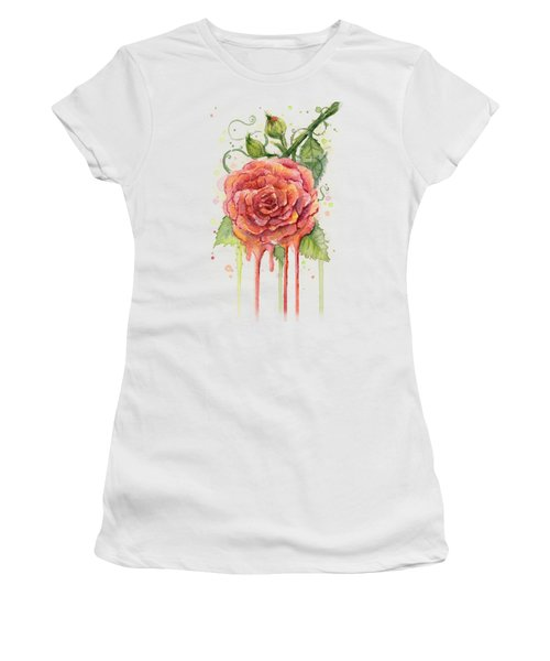 Red Rose Dripping Watercolor  Women's T-Shirt (Junior Cut) by Olga Shvartsur