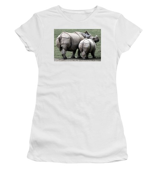 Rhinoceros Mother And Calf In Wild Women's T-Shirt (Junior Cut) by Daniel Hagerman