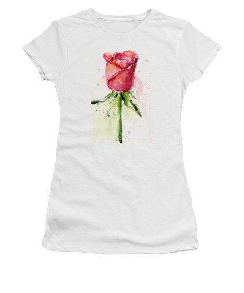 Rose Watercolor Women's T-Shirt (Junior Cut) by Olga Shvartsur