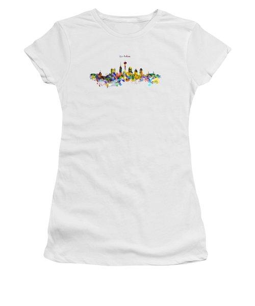 San Antonio Skyline Silhouette Women's T-Shirt (Junior Cut) by Marian Voicu