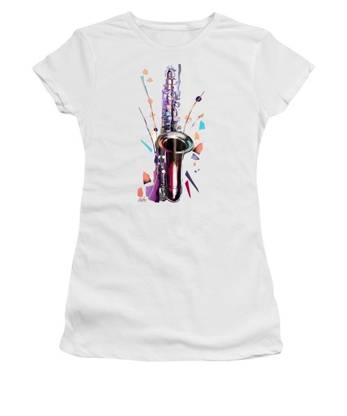 Saxophone Women's T-Shirt (Junior Cut) by Melanie D