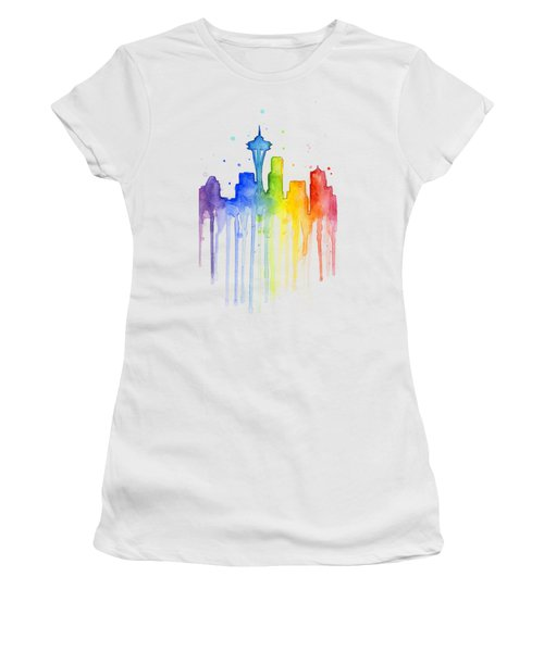 Seattle Rainbow Watercolor Women's T-Shirt (Junior Cut) by Olga Shvartsur