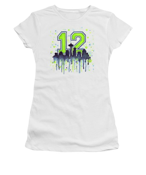 Seattle Seahawks 12th Man Art Women's T-Shirt (Junior Cut) by Olga Shvartsur