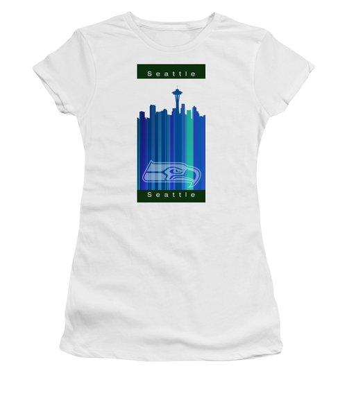 Seattle Sehawks Skyline Women's T-Shirt (Junior Cut) by Alberto RuiZ