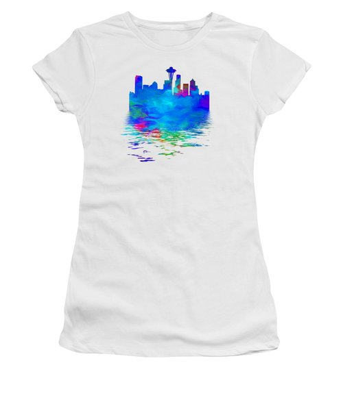 Seattle Skyline, Blue Tones On White Women's T-Shirt (Junior Cut) by Pamela Saville