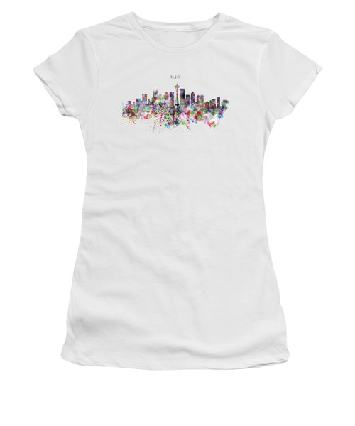 Seattle Skyline Silhouette Women's T-Shirt (Junior Cut) by Marian Voicu