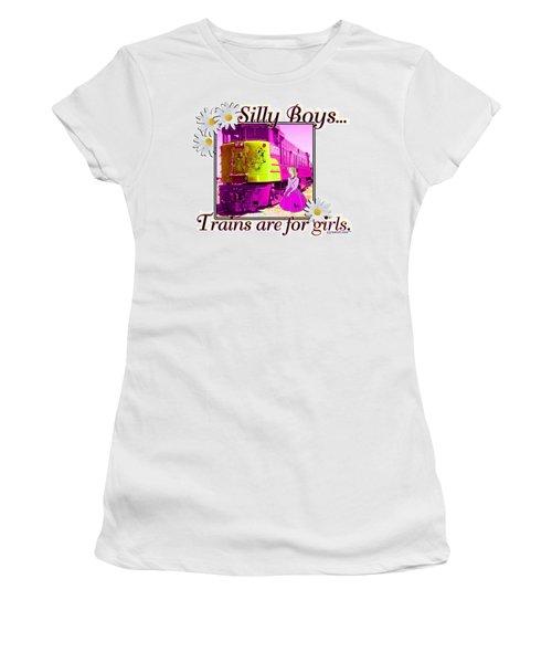 Silly Boys, Trains Women's T-Shirt (Junior Cut) by Sheri Cockrell