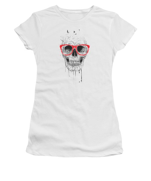 Skull With Red Glasses Women's T-Shirt (Junior Cut) by Balazs Solti