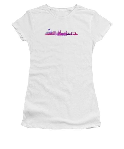 skyline city London purple Women's T-Shirt (Junior Cut) by Justyna JBJart