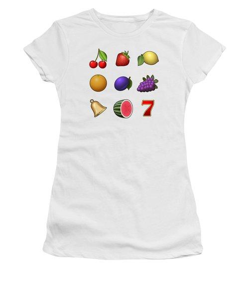 Slot Machine Fruit Symbols Women's T-Shirt (Junior Cut) by Miroslav Nemecek