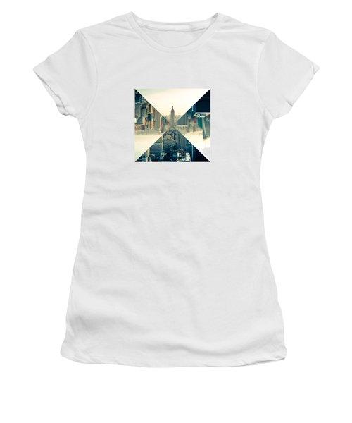 Split Skyline Ny Women's T-Shirt (Junior Cut) by Jamie Kingswood