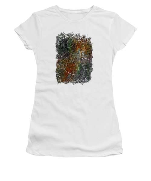Swan Dance Muted Rainbow 3 Dimensional Women's T-Shirt (Junior Cut) by Di Designs
