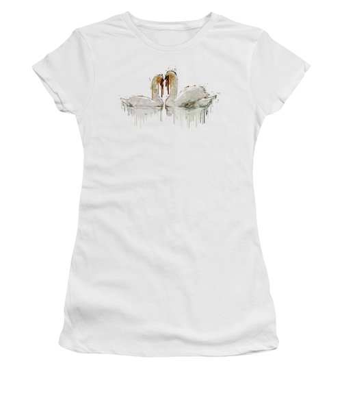 Swan Love Acrylic Painting Women's T-Shirt (Junior Cut) by Georgeta Blanaru