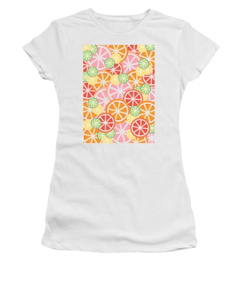 Sweet And Sour Citrus Print Women's T-Shirt (Junior Cut) by Lauren Amelia Hughes