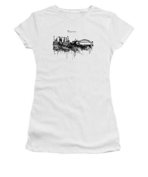 Sydney Black And White Watercolor Skyline Women's T-Shirt (Junior Cut) by Marian Voicu
