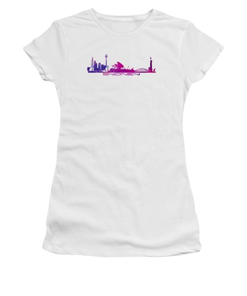 Sydney Skyline Purple Women's T-Shirt (Junior Cut) by Justyna JBJart