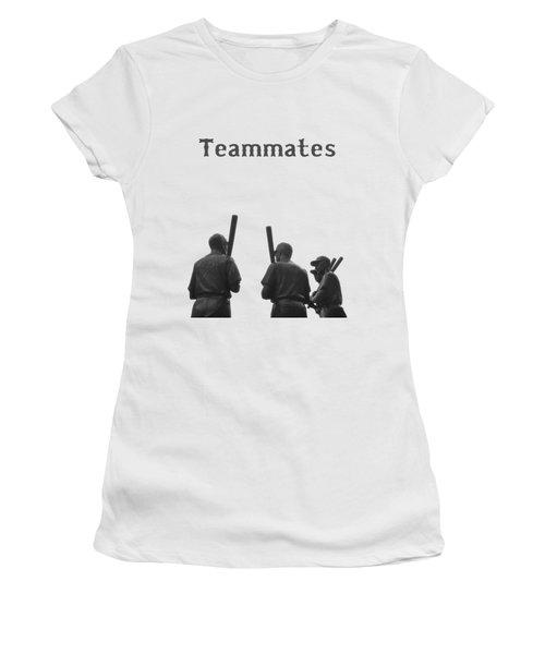 Teammates Poster - Boston Red Sox Women's T-Shirt (Junior Cut) by Joann Vitali