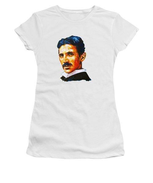 Tesla - Pure Genius Women's T-Shirt (Junior Cut) by Konni Jensen