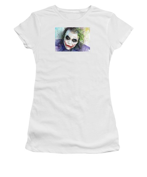 The Joker Watercolor Women's T-Shirt (Junior Cut) by Olga Shvartsur