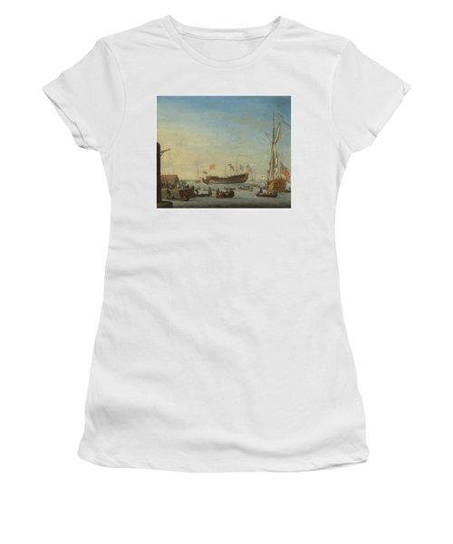 The Launch Of A Man Of War Women's T-Shirt (Junior Cut) by Robert Woodcock