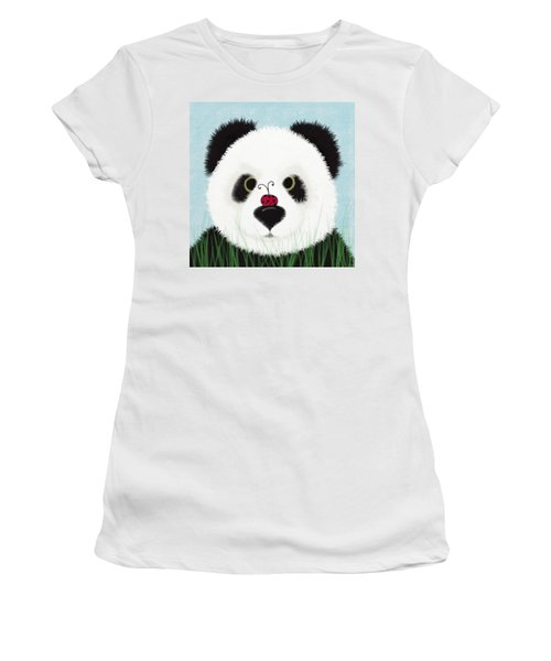 The Panda And His Visitor  Women's T-Shirt (Junior Cut) by Michelle Brenmark