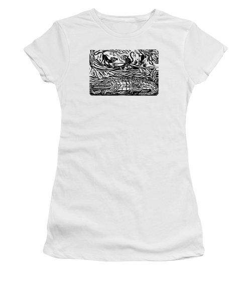 Three Little Monkeys  Women's T-Shirt (Junior Cut) by Katherine Nutt