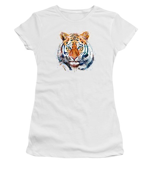 Tiger Head Watercolor Women's T-Shirt (Junior Cut) by Marian Voicu