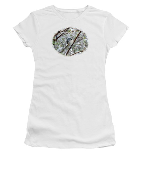 Titmouse On Snowy Branch Women's T-Shirt (Junior Cut) by Larry Bishop