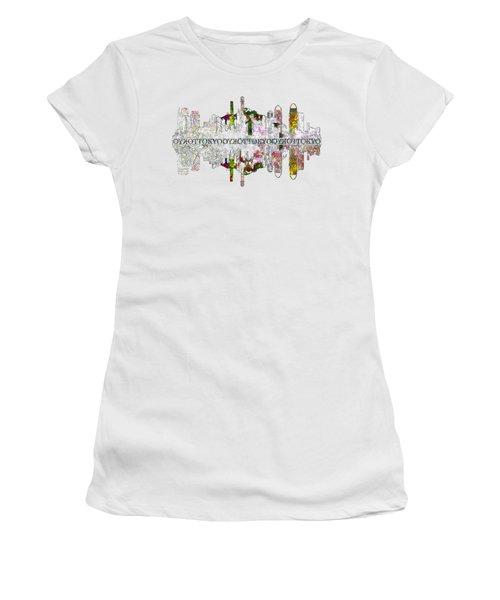 Tokyo Skyline On White Women's T-Shirt (Junior Cut) by John Groves