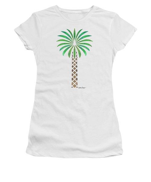 Tribal Canary Date Palm Women's T-Shirt (Junior Cut) by Heather Schaefer