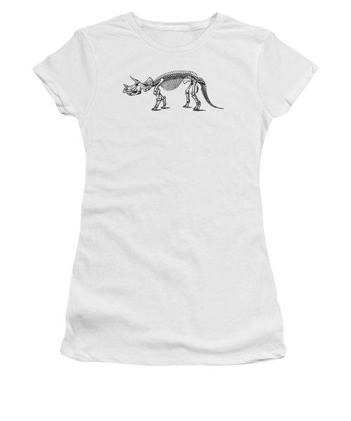 Triceratops Dinosaur Tee Women's T-Shirt (Junior Cut) by Edward Fielding