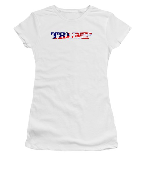 Trump - Fort Mchenry Flag Overlay Women's T-Shirt (Junior Cut) by William Bartholomew