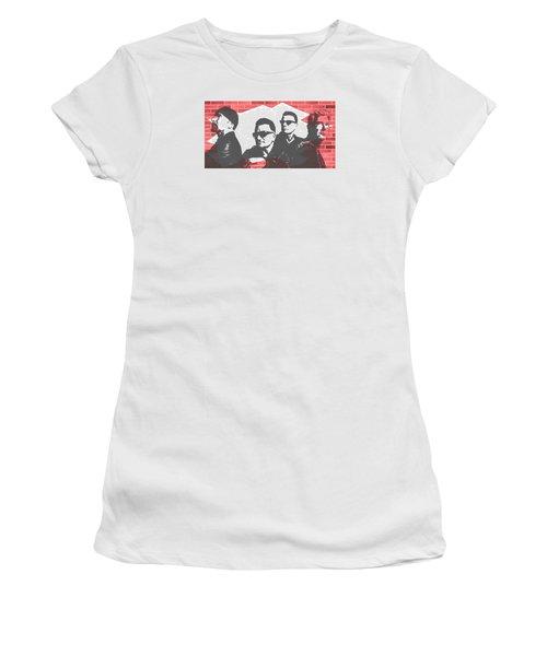 U2 Graffiti Tribute Women's T-Shirt (Junior Cut) by Dan Sproul
